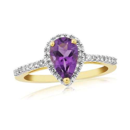 Pear shaped amethyst and diamond cluster ring